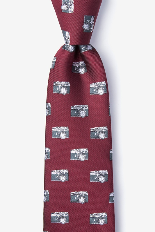 Vintage Cameras Burgundy Tie Photo (0)