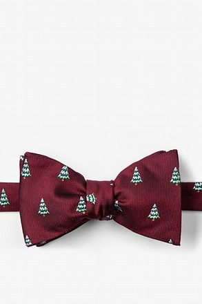 """Snowed Under"" Burgundy Self-Tie Bow Tie"