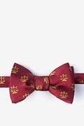 Burgundy Silk Lawyer Tie Self-Tie Bow Tie