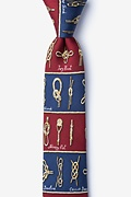 Burgundy Silk Nautical Knots Skinny Tie