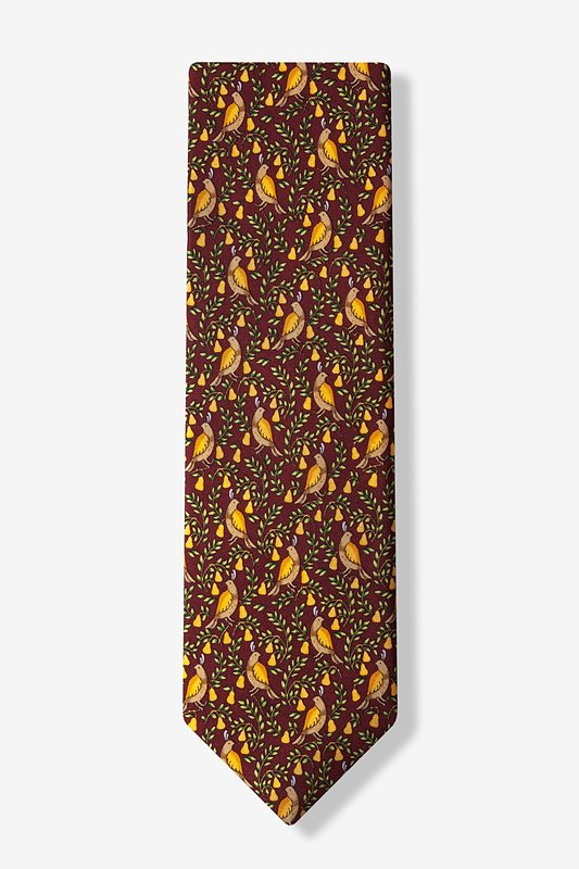 Partridge In A Pear Tree Burgundy Tie Photo (1)