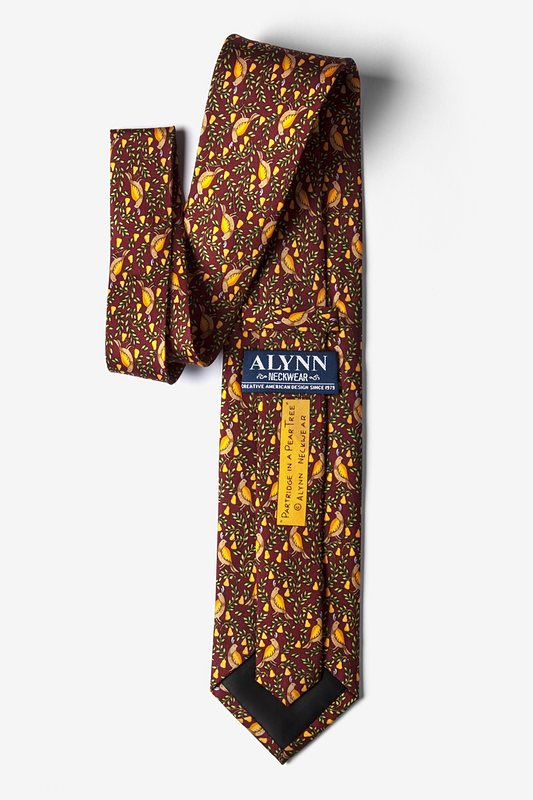 Partridge In A Pear Tree Burgundy Tie Photo (2)
