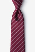 Burgundy Silk Yapen Extra Long Tie