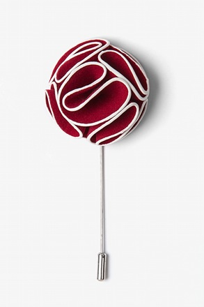 _Burgundy Piped Flower Lapel Pin_