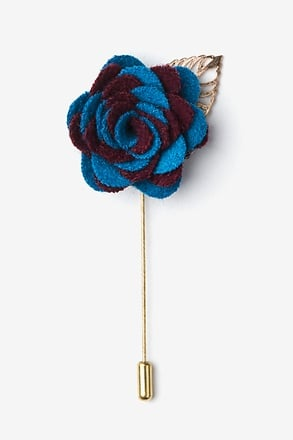 _Two-toned Flower Gold Leaf Burgundy Lapel Pin_