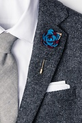 Two-toned Flower Gold Leaf Burgundy Lapel Pin Photo (1)