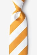Burnt Orange Microfiber Burnt Orange & White Stripe Extra Long Tie