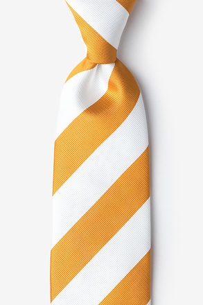 _Burnt Orange & White Stripe Extra Long Tie_