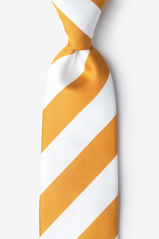 Burnt Orange & White Stripe Extra Long Tie Photo (0)