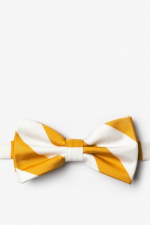 _Burnt Orange & White Stripe Pre-Tied Bow Tie_