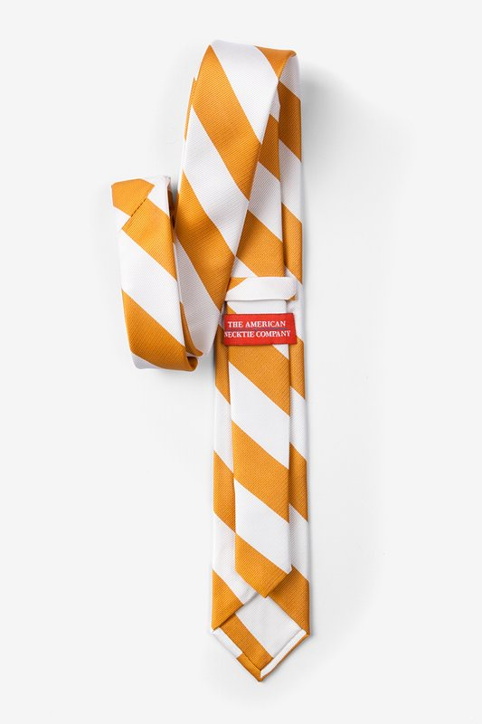 Burnt Orange & White Stripe Skinny Tie Photo (1)