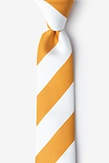 Burnt Orange Microfiber Burnt Orange & White Stripe Skinny Tie
