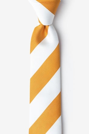_Burnt Orange & White Stripe Skinny Tie_