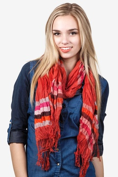 Ribbon Stripe Burnt Orange Scarf