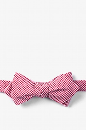 Red Chamberlain Check Diamond Tip Bow Tie