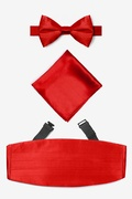 Candy Apple Red Silk Candy Apple Red Pretied Bow Tie Cummerbund Set