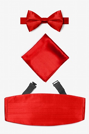 Candy Apple Red Pretied Bow Tie Cummerbund Set