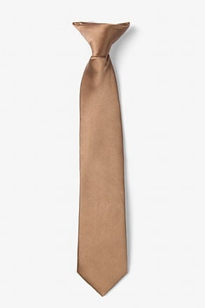 _Cappuccino Clip-on Tie For Boys_
