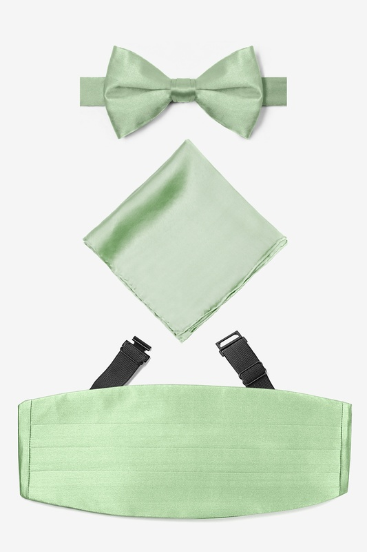 Celedon Green Pretied Bow Tie Celadon Cummerbund Set Photo (0)