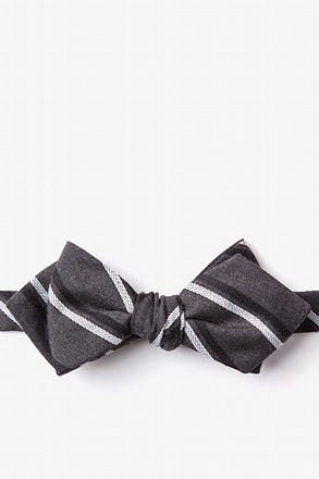 Beasley Charcoal Diamond Tip Bow Tie