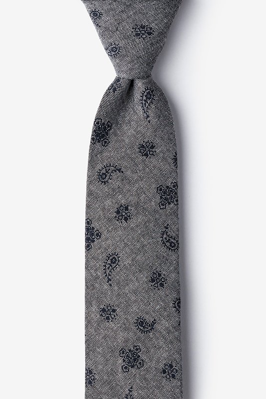 Charcoal Hunter Paisley Skinny Tie