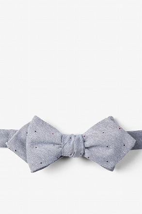 Charcoal Warner Cotton Polka Dots Diamond Tip Bow Tie