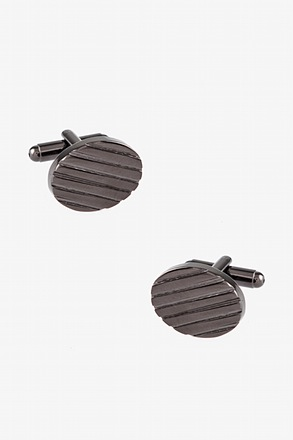 Oval Grooves Charcoal Cufflinks