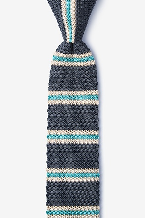 _Maltese Stripe Charcoal Knit Skinny Tie_