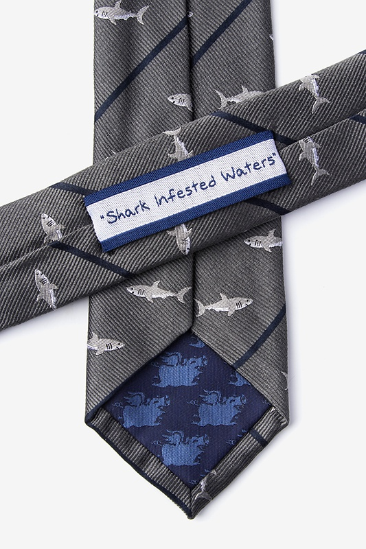 Shark Infested Waters Charcoal Skinny Tie Photo (2)
