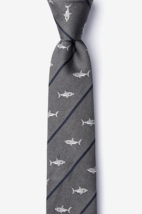 _Shark Infested Waters Charcoal Skinny Tie_