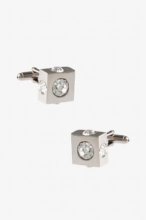 _All Round Jewels Clear Cufflinks_