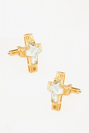 _Bejeweled Cross Clear Cufflinks_