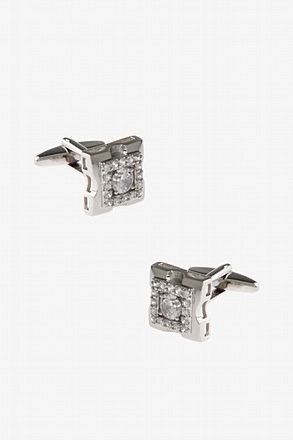 Bejeweled Dented Square Cufflinks