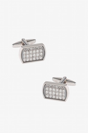 _Bejeweled Mirrored Rectangle Clear Cufflinks_