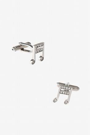 _Bejeweled Music Note Clear Cufflinks_