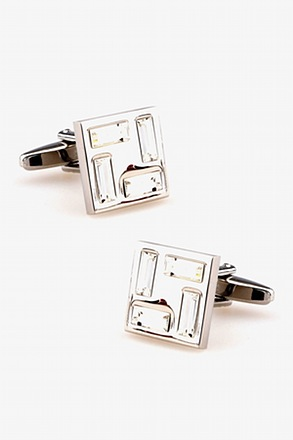 _Crystal Border Clear Cufflinks_