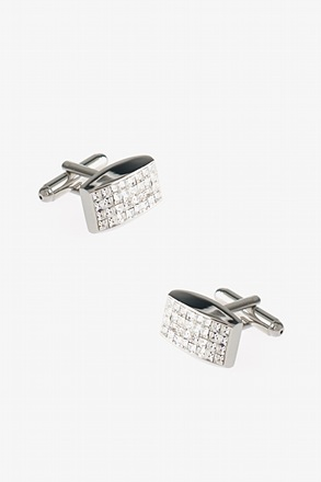 _Curved Rectangle Grid Clear Cufflinks_