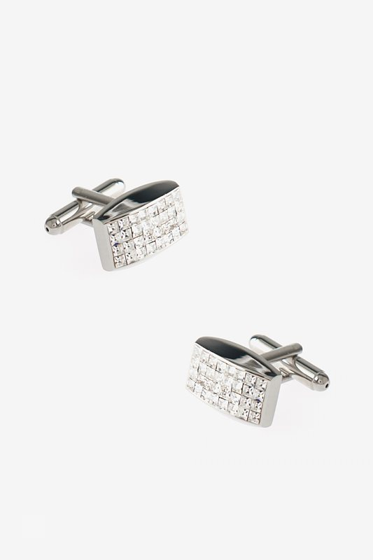 Curved Rectangle Grid Clear Cufflinks Photo (0)