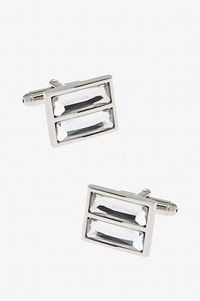Double Rectangular Rhinestones Clear Cufflinks