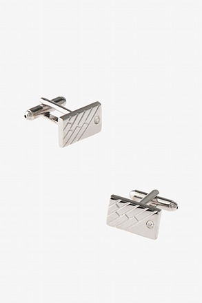 Etchted Bejeweled Plate Cufflinks