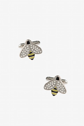_Flashy Bee Clear Cufflinks_