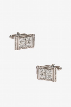 Flashy Bejeweled Rectangle Cufflinks