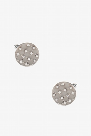 _Flashy Solid Round Clear Cufflinks_