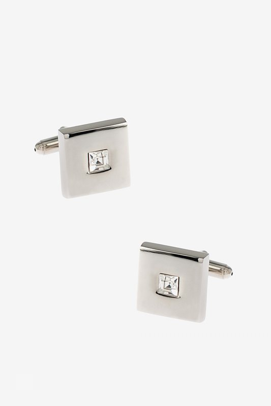 Framed Square Rhinestone Clear Cufflinks Photo (0)
