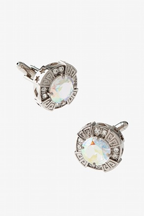_Jazzy Octagon Clear Cufflinks_