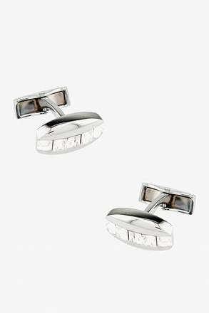 _Oval Gem Stripe Clear Cufflinks_