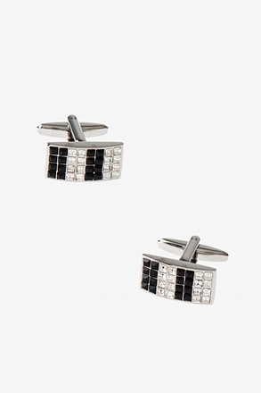 Rectangle Two Toned Gems Cufflinks