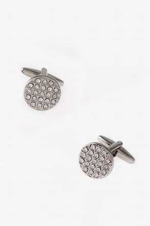 _Round Bling Clear Cufflinks_