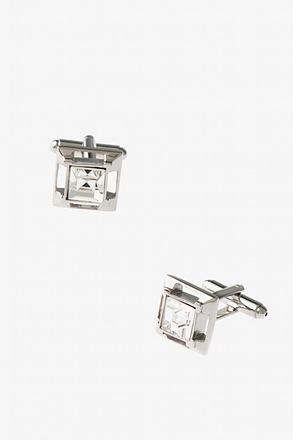 _Sheer Crystal Square Clear Cufflinks_