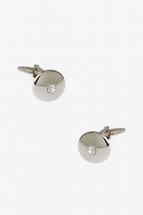 _Solid Round Bling Clear Cufflinks_